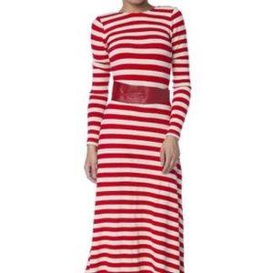 Red/White striped floor length dress